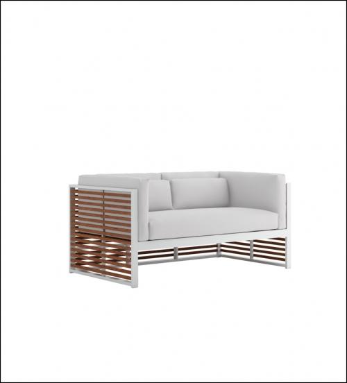 dna teak 2 seat sofa white 1 1 500x552 - Sofa 2-Sitzer DNA Teakholz - Gandia Blasco