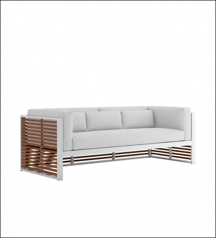 dna teak 3 seat sofa white 1 700x773 - Sofa 3-Sitzer DNA Teakholz - Gandia Blasco