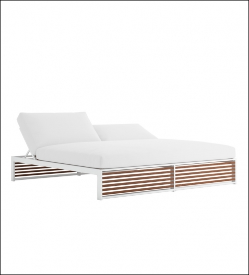 dna teak chill bed 200 white 1 500x552 - Tagesbett DNA Teakholz - Gandia Blasco