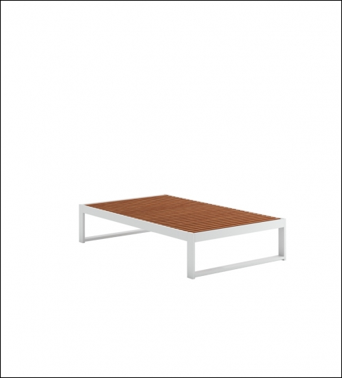 dna teak coffee table 151 white 1 500x552 - Niedriger Tisch DNA Teakholz - Gandia Blasco