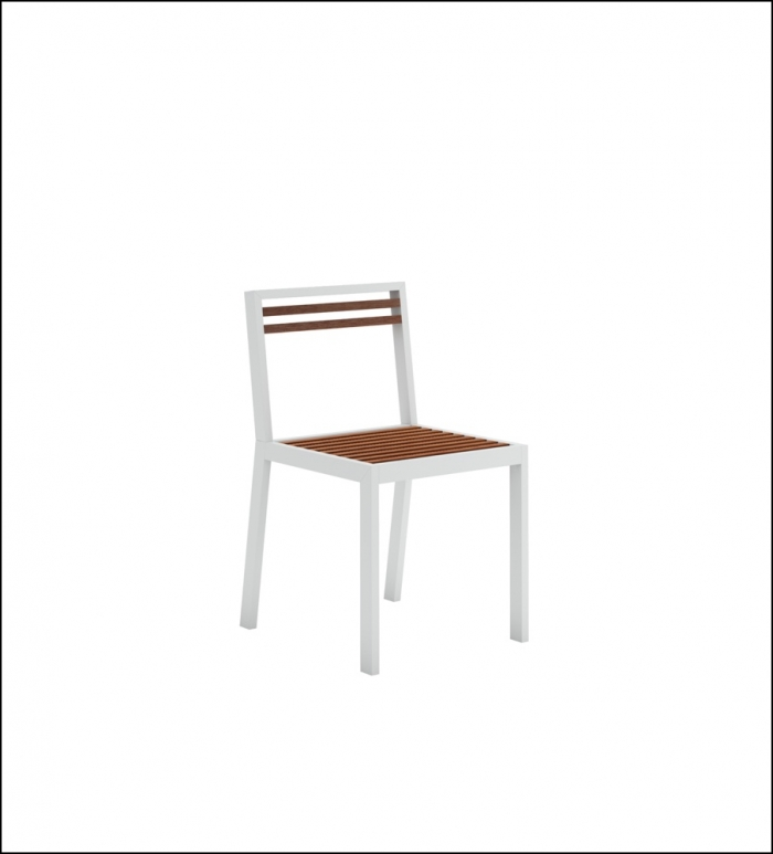 dna teak dining chair white 1 700x773 - Stuhl DNA Teakholz - Gandia Blasco