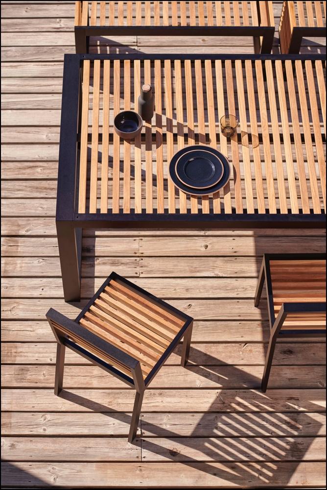 dna teak dining chairs black 4 1 - Stuhl DNA Teakholz - Gandia Blasco
