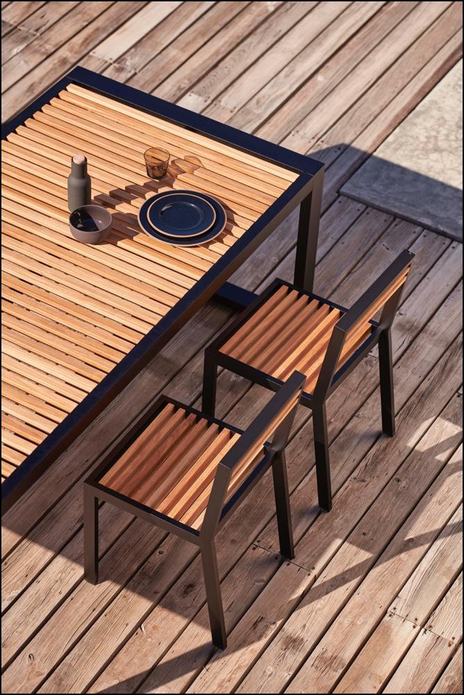 dna teak dining chairs black 4 2 - Stuhl DNA Teakholz - Gandia Blasco