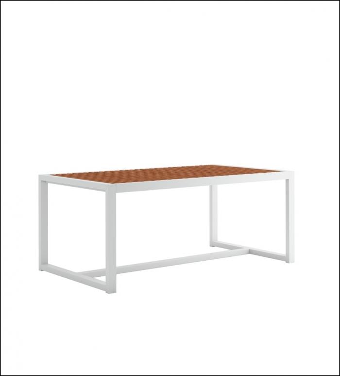 dna teak dining table 179 white 1 700x773 - Hoher Tisch DNA Teakholz - Gandia Blasco